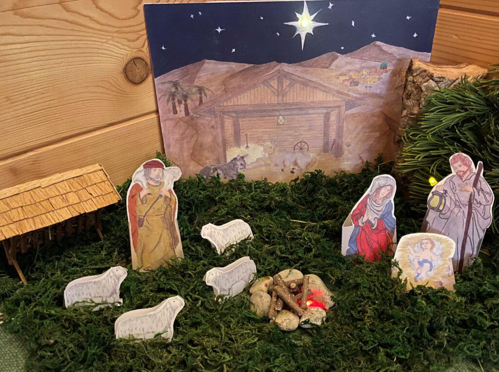 Weihnachtsgrippe mit Jesus Maria Joseph LED Beleuchtung